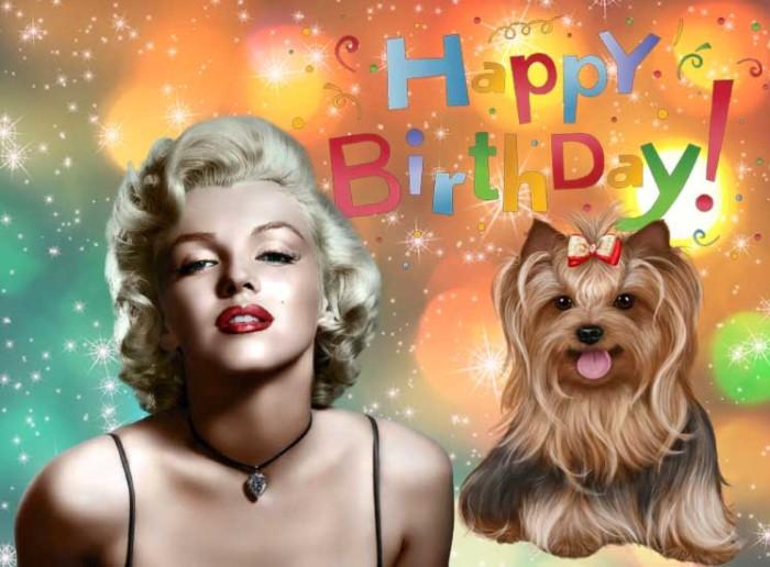 Открытка с Днем рождения мужчине с Мерлин Монро
